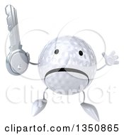 Clipart Of A 3d Unhappy Golf Ball Character Holding A Key And Jumping Royalty Free Illustration by Julos