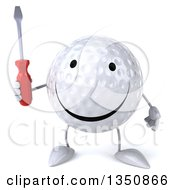 Clipart Of A 3d Happy Golf Ball Character Holding A Screwdriver Royalty Free Illustration by Julos