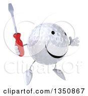 Clipart Of A 3d Happy Golf Ball Character Holding A Screwdriver And Jumping Royalty Free Illustration by Julos