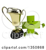 Clipart Of A 3d Unhappy Green Naturopathic Cross Character Holding Up A Trophy And Thumb Down Royalty Free Illustration by Julos