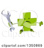 Clipart Of A 3d Unhappy Green Naturopathic Cross Character Holding Up A Wrench And Thumb Down Royalty Free Illustration