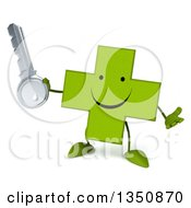 Clipart Of A 3d Happy Green Naturopathic Cross Character Shrugging And Holding A Key Royalty Free Illustration