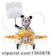 Clipart Of A 3d Business Panda Aviator Pilot Holding A Blank Sign And Flying A Yellow Airplane Royalty Free Illustration