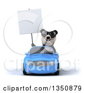 Clipart Of A 3d Panda Wearing Sunglasses Holding A Blank Sign And Driving A Blue Convertible Car Royalty Free Illustration