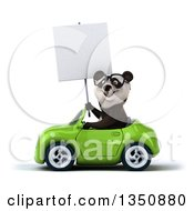 Clipart Of A 3d Bespectacled Panda Holding A Blank Sign And Driving A Green Convertible Car To The Left Royalty Free Illustration