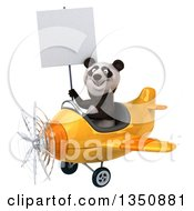 Clipart Of A 3d Panda Aviator Pilot Holding A Blank Sign And Flying A Yellow Airplane To The Left Royalty Free Illustration