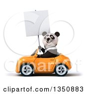 Clipart Of A 3d Business Panda Holding A Blank Sign And Driving An Orange Convertible Car To The Left Royalty Free Illustration
