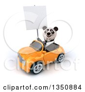 Clipart Of A 3d Business Panda Holding A Blank Sign And Driving An Orange Convertible Car To The Left Royalty Free Illustration by Julos