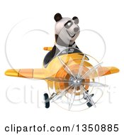 Clipart Of A 3d Business Panda Aviator Pilot Flying A Yellow Airplane Royalty Free Illustration by Julos