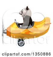 Clipart Of A 3d Panda Aviator Pilot Flying A Yellow Airplane To The Left Royalty Free Illustration