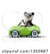 Clipart Of A 3d Bespectacled Panda Giving A Thumb Up And Driving A Green Convertible Car To The Left Royalty Free Illustration
