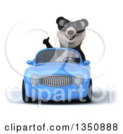 Clipart Of A 3d Panda Wearing Sunglasses Giving A Thumb Up And Driving A Blue Convertible Car Royalty Free Illustration