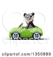 Clipart Of A 3d Bespectacled Panda Driving A Green Convertible Car To The Left Royalty Free Illustration