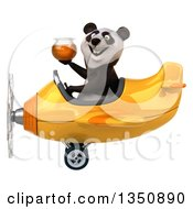 Clipart Of A 3d Panda Aviator Pilot Holding A Honey Jar And Flying A Yellow Airplane To The Left Royalty Free Illustration