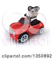 Clipart Of A 3d Business Panda Wearing Sunglasses Giving A Thumb Up And Driving A Red Convertible Car To The Left Royalty Free Illustration
