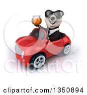 Clipart Of A 3d Business Panda Wearing Sunglasses Holding A Honey Jar And Driving A Red Convertible Car To The Left Royalty Free Illustration