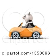 Clipart Of A 3d Business Panda Driving An Orange Convertible Car To The Left Royalty Free Illustration by Julos