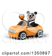Clipart Of A 3d Business Panda Holding A Honey Jar And Driving An Orange Convertible Car To The Left Royalty Free Illustration