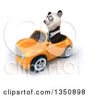 Clipart Of A 3d Business Panda Driving An Orange Convertible Car To The Left Royalty Free Illustration