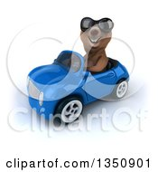 Clipart Of A 3d Brown Bear Wearing Sunglasses And Driving A Blue Convertible Car To The Left Royalty Free Illustration