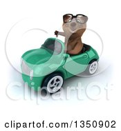Clipart Of A 3d Bespectacled Brown Bear Giving A Thumb Down And Driving A Green Convertible Car To The Left Royalty Free Illustration