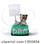 Clipart Of A 3d Bespectacled Brown Bear Holding A Blank Sign And Driving A Green Convertible Car Royalty Free Illustration