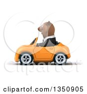 Clipart Of A 3d Brown Business Bear Driving An Orange Convertible Car To The Left Royalty Free Illustration