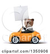 Clipart Of A 3d Brown Business Bear Holding A Blank Sign And Driving An Orange Convertible Car To The Left Royalty Free Illustration