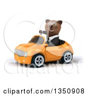 Clipart Of A 3d Brown Business Bear Giving A Thumb Down And Driving An Orange Convertible Car To The Left Royalty Free Illustration