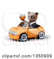 Clipart Of A 3d Brown Business Bear Holding A Honey Jar And Driving An Orange Convertible Car To The Left Royalty Free Illustration