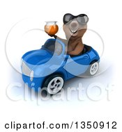 Clipart Of A 3d Brown Bear Wearing Sunglasses Holding A Honey Jar And Driving A Blue Convertible Car To The Left Royalty Free Illustration