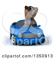 Clipart Of A 3d Brown Bear Wearing Sunglasses And Driving A Blue Convertible Car Royalty Free Illustration