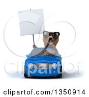Clipart Of A 3d Brown Bear Wearing Sunglasses Holding A Blank Sign And Driving A Blue Convertible Car Royalty Free Illustration