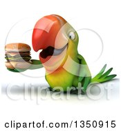 Clipart Of A 3d Green Macaw Parrot Holding A Double Cheeseburger Royalty Free Illustration