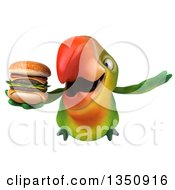 Clipart Of A 3d Green Macaw Parrot Holding A Double Cheeseburger And Flying Royalty Free Illustration