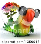 Clipart Of A 3d Green Macaw Parrot Wearing Sunglasses And Holding A Flower Bouquet Royalty Free Illustration