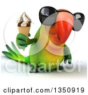 Clipart Of A 3d Green Macaw Parrot Wearing Sunglasses And Holding A Waffle Ice Cream Cone Royalty Free Illustration