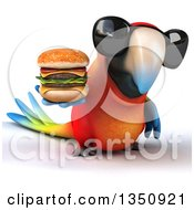 Clipart Of A 3d Scarlet Macaw Parrot Wearing Sunglasses And Holding A Double Cheeseburger Royalty Free Illustration by Julos
