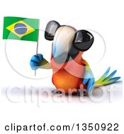 Clipart Of A 3d Scarlet Macaw Parrot Wearing Sunglasses And Holding A Brazilian Flag Royalty Free Illustration