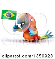 Clipart Of A 3d Scarlet Macaw Parrot Holding And Pointing To A Brazilian Flag Royalty Free Illustration