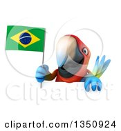 Clipart Of A 3d Scarlet Macaw Parrot Holding A Brazilian Flag Over A Sign Royalty Free Illustration
