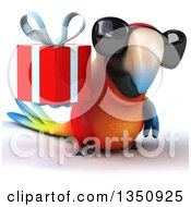 Clipart Of A 3d Scarlet Macaw Parrot Wearing Sunglasses And Holding A Gift Royalty Free Illustration