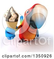 Clipart Of A 3d Scarlet Macaw Parrot Holding Up A Waffle Ice Cream Cone Royalty Free Illustration