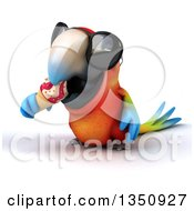 Clipart Of A 3d Scarlet Macaw Parrot Wearing Sunglasses And Eating A Waffle Ice Cream Cone Royalty Free Illustration