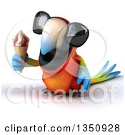 Clipart Of A 3d Scarlet Macaw Parrot Wearing Sunglasses And Holding A Waffle Ice Cream Cone Royalty Free Illustration