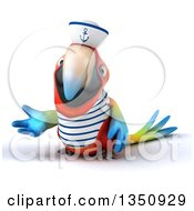 Clipart Of A 3d Scarlet Macaw Parrot Sailor Presenting Royalty Free Illustration by Julos