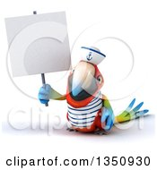 Clipart Of A 3d Scarlet Macaw Parrot Sailor Holding A Blank Sign Royalty Free Illustration