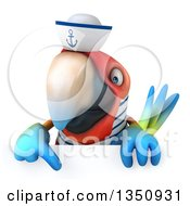 Clipart Of A 3d Scarlet Macaw Parrot Sailor Pointing Down Over A Sign Royalty Free Illustration