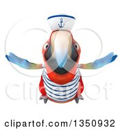 Clipart Of A 3d Scarlet Macaw Parrot Sailor Flying Royalty Free Illustration