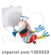 Clipart Of A 3d Scarlet Macaw Parrot Sailor Holding A Blank Sign And Flying Royalty Free Illustration